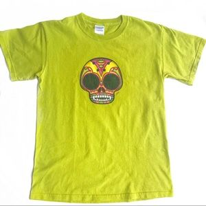 Super cool sugar skull monkey shirt bright green